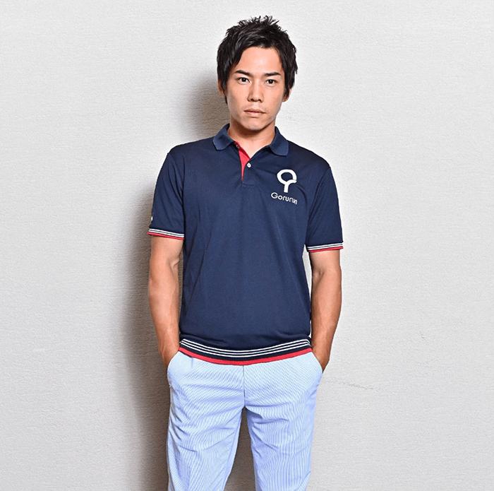 Gorurun ハニカムメッシュ ドライ ロゴ メンズポロシャツ / ネイビー